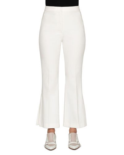 Stretch Cotton Pleated-Flare Pants