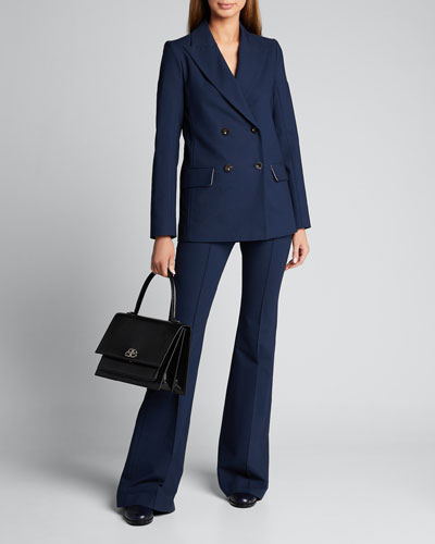 Double-Breasted Crepe Blazer Jacket