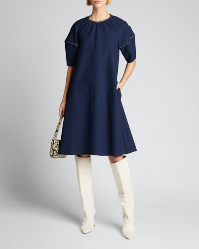 Balloon-Sleeve Stretch Cotton Dress