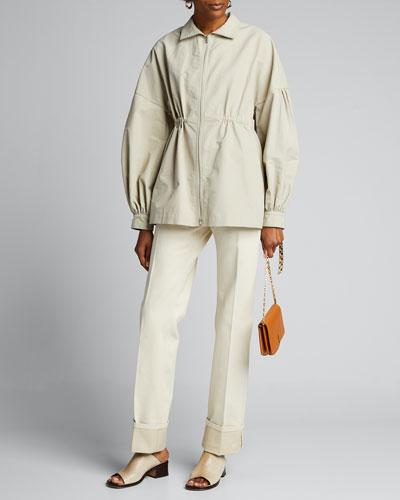 Lantern Sleeve Shirt Jacket
