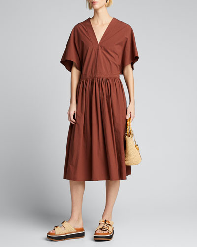 Gloria Boxy Poplin V-Neck Dress