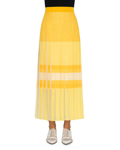 Orizzone Printed Pleated Maxi Skirt