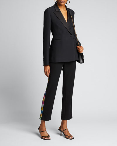 Electric Dream Sequin Tuxedo-Striped Pants