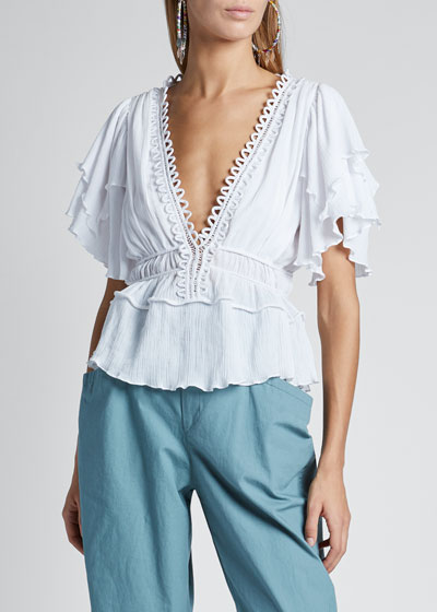 Cotton Ruffle Short-Sleeve Deep V-Neck Drawstring Top