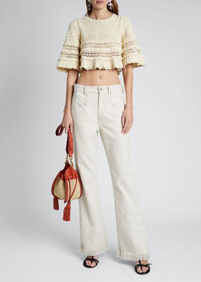 Stripe-Crocheted Crop Sweater