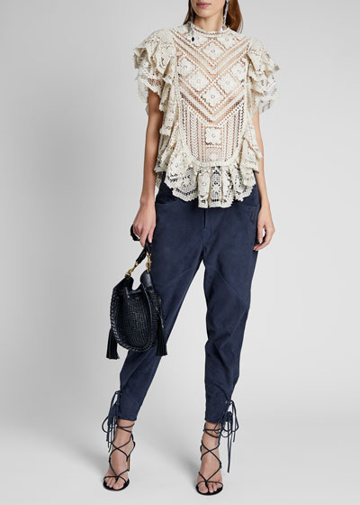 Embroidered Cotton Ruffle Short-Sleeve High-Neck Top