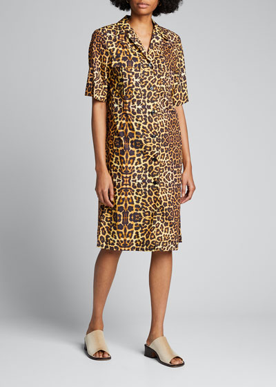 Leopard Print Short-Sleeve Shirtdress