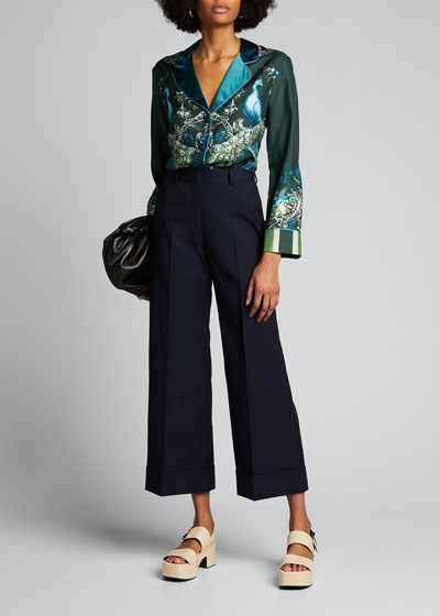 Poiretti Cotton Wide-Leg Trousers