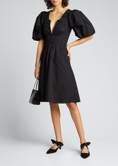 Cotton Oversize Short-Sleeve V-neck Dress