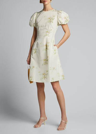 Floral Print Taffeta Puff-Sleeve Dress