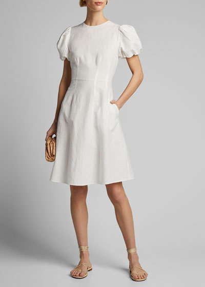 Poplin Puff-Sleeve A-Line Dress