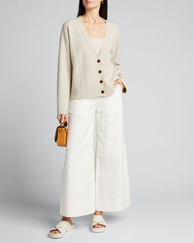 Wool-Blend Button-Front Cardigan