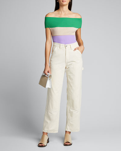 Off-the-Shoulder Colorblocked Shirt