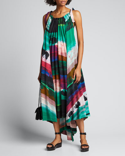 Abstract print Panorama Pleated Dress