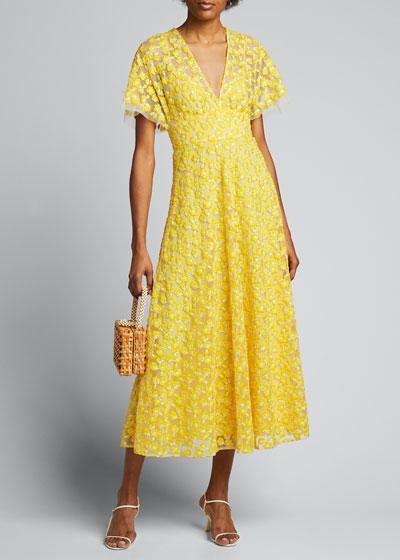 Floral Embroidered Tulle Flutter-Sleeve Dress