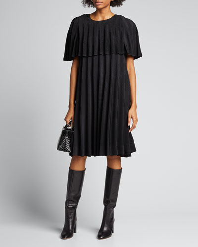 Parasol Pleated Cape-Sleeve Dress