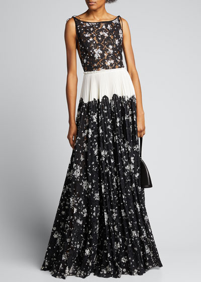 Floral Printed Corded Lace Pleated Boatneck Gown
