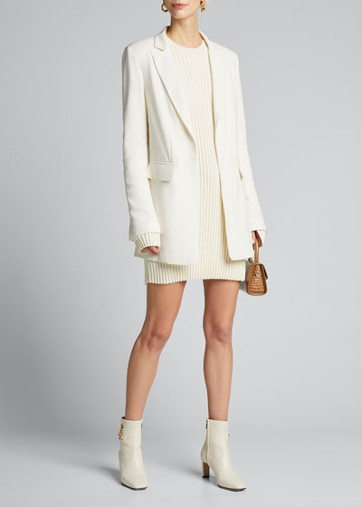 Fluid Crepe Single-Breasted Blazer