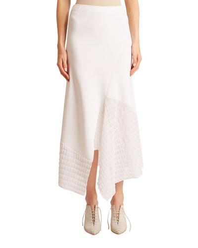 Crepe Asymmetric Lace-Hem Skirt