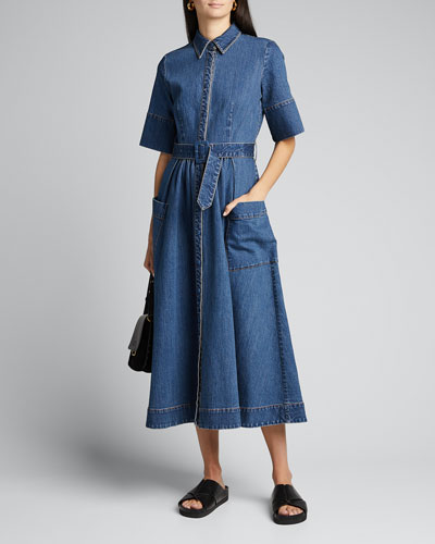 Belted Denim Midi Shirtdress