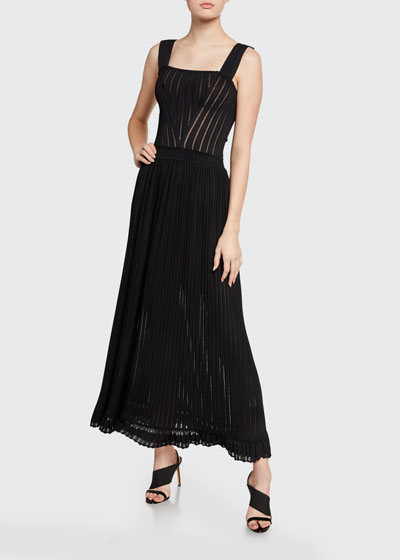Flabalas Square-Neck Pleated Maxi Dress