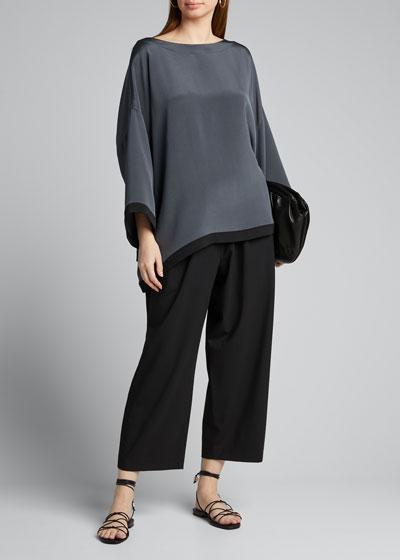 Silk Bateau-Neck 3/4-Sleeve Tunic