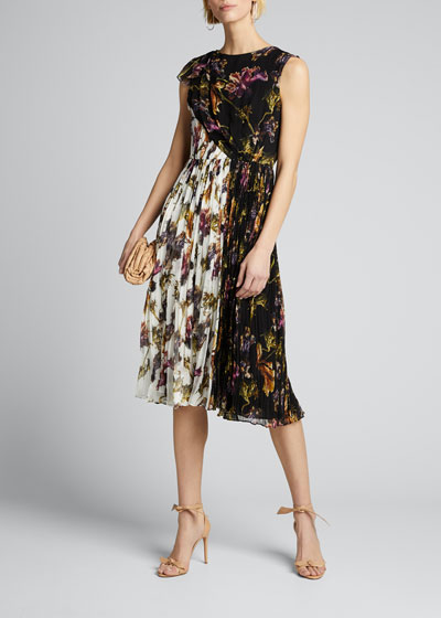 Floral-Print Crinkled Chiffon Dress