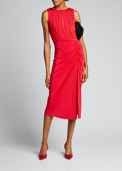 Ruched-Jersey Sleeveless Day Dress