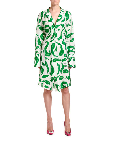 Leaf-Print V-Neck Shirtdress