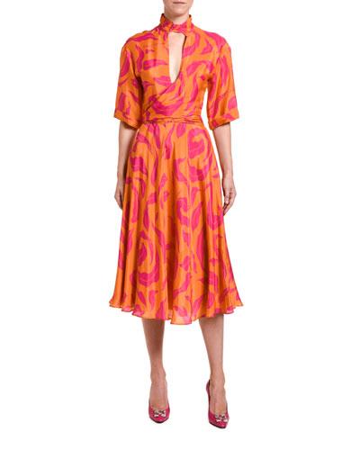 High-Neck Leaves Print Dress