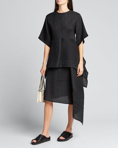 Smocked Jersey Asymmetric Skirt