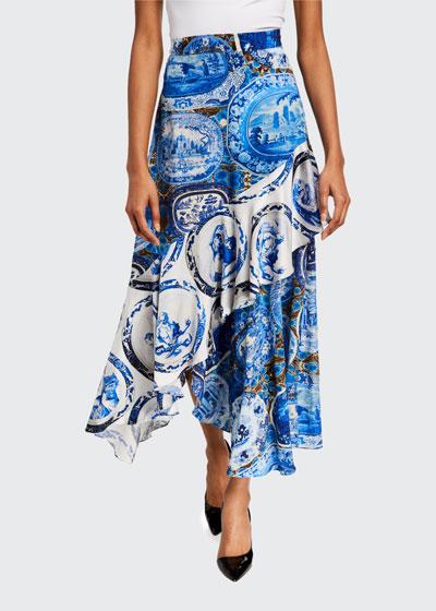 Mixed Print Asymmetrical Flounce Skirt