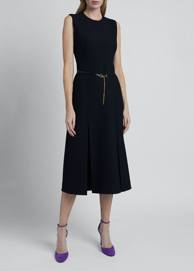 Wool-Silk Pleated Dress