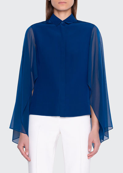 Button-Front Blouse with Flutter Sleeve
