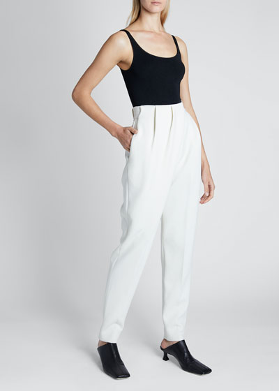 Stretch Suiting Draped-Front Pants