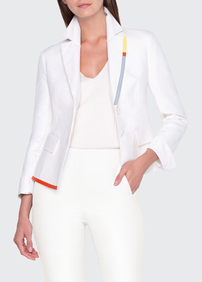 Contrast Trim Asymmetric Shirt Jacket