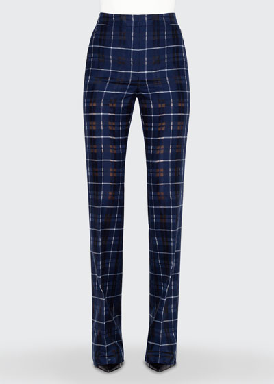 Farida Sheer Plaid Boot-Leg Flat-Front Pants