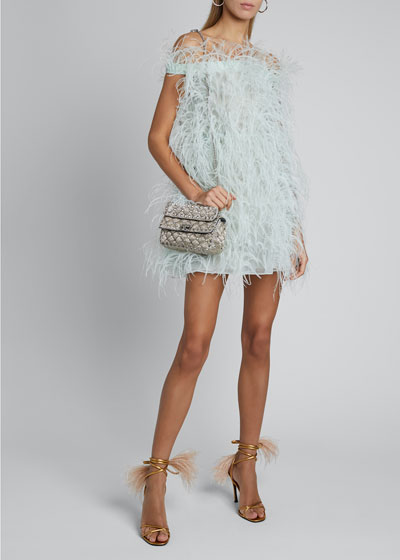 Sleeveless Ostrich Feather Cocktail Dress