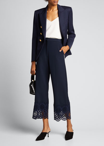 Cropped Pants with Lace Hem
