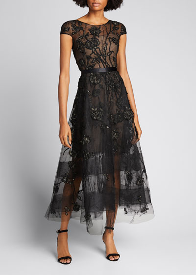 Floral-Embroidered Tea-Length Tulle Dress