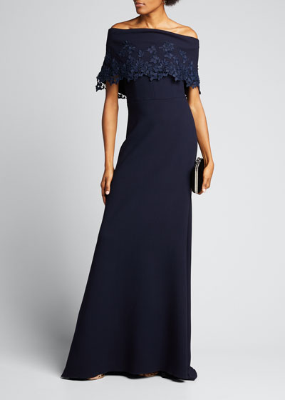 Wool Crepe Off-the-Shoulder Gown