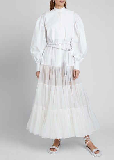 Long Puff-Sleeve Techno Cotton & Tulle Dress