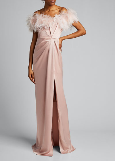 Feathered Satin Off-the-Shoulder Column Gown