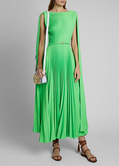 Pleated Midi Cape Dress
