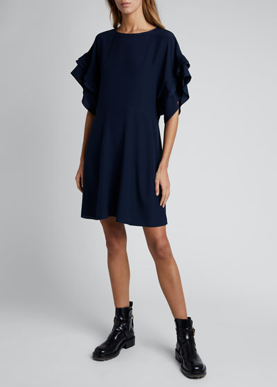 Silk Crepe Short-Sleeve Crewneck Dress