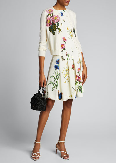 Floral-Embroidered Button-Front Cardigan