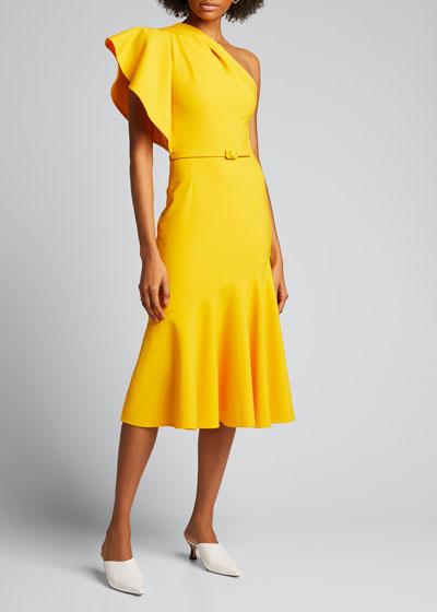 Ruffled One-Shoulder Crepe Dress