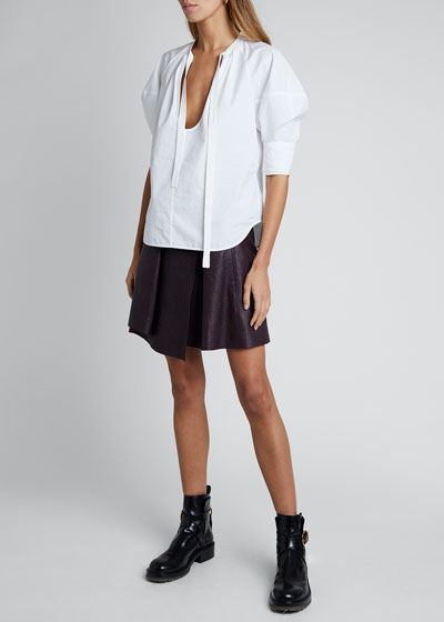 Cotton Poplin  Short-Sleeve Tie-Neck Blouse
