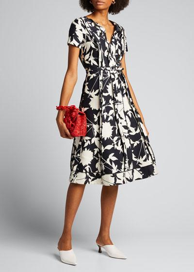 Double-Face Floral Jacquard A-Line Dress