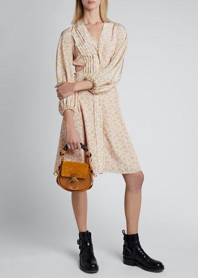 Floral Silk Georgette Long-Sleeve V-neck Dress